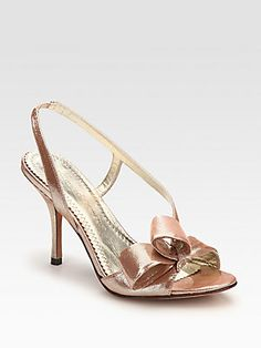8b9253cfe5a Jean-Michel Cazabat - Metallic Leather Slingback Bow Sandals