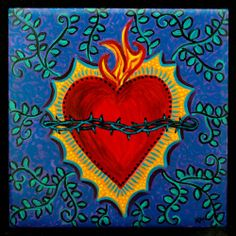 SACRED HEART hand painted Tile ART 6x6 Original wall hanging trivet Catholic Art, Religious Art, Coeur Tattoo, Jesus E Maria, Heart Painting, Mexican Folk Art, Sacred Art, Heart Art, Tile Art