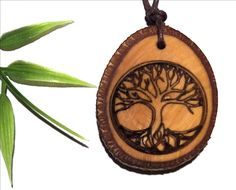 wooden necklace pendant tree of life- Holzschmuck Baum des Lebens