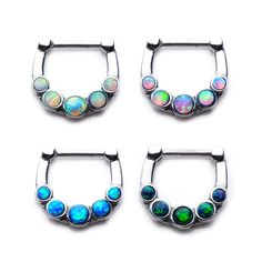 """Body Vibe Septum Clicker, Black Synthetic Opal, 14G 1/4"""", Limited Availability"""