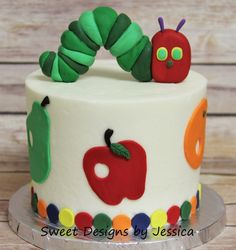 Hungry Caterpillar smash cake