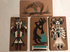 Set 4 Southeast sand Art E.Y. Hunch back Flute player Arrow People Protection  #Handmade #NativeAmerican