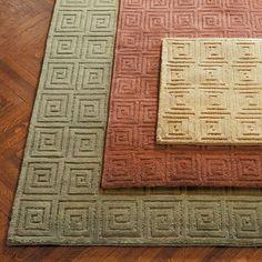Tibetan Greek Key Wool Area Rugs
