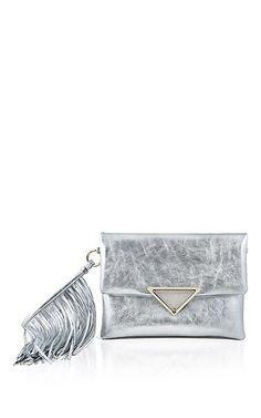 Sara Battaglia - Large Teresa Clutch in Silver Calf Leather