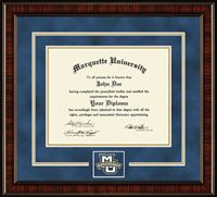 #dreamoffice @diplomaframe Marquette University Diploma Frame - Features a custom-designed medallion of your school emblem. This medallion is placed in a distinctive bevel cut opening within double navy suede and gold museum quality matting. It is framed in our Ridgewood moulding crafted of solid wood and features a high-gloss cherry finish with tigerwood grain.
