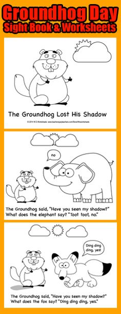 Groundhog's Day book and worksheets. What does the fox say about groundhog's shadow?