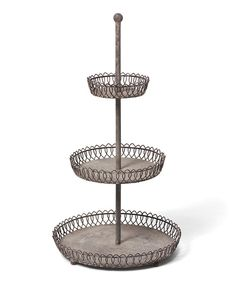 Display tiny tea cakes and finger sandwiches on this tiered server. Constructed from durable materials and featuring three levels, it's a sturdy stand for charming garden parties. 13.25'' W x 23.5'' H x 13.25'' DMetalImported