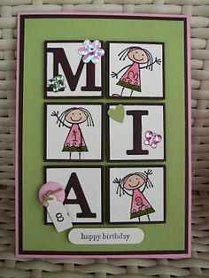 handmade birthday card from Stamp My Day ... 2X3 inchie column ... alternating blocks spell the birthday girl's name ... luv the bling scattered on the blocks ... age on tiny jewelry tag attached to a button ,,. great card ... Stampin' Up!