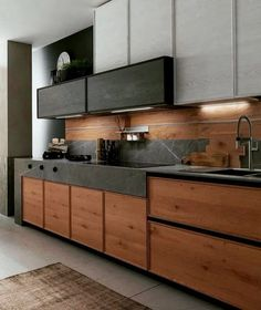 The 30 Best Black Kitchens - Kitchen Trends You Need To See awesome Concrete might look like an unusual alternative for your kitchen, but given the appropriate setting, its rustic, textured look can set only the perfec. Kitchen Room Design, Luxury Kitchen Design, Contemporary Kitchen Design, Kitchen Cabinet Design, Luxury Kitchens, Home Decor Kitchen, Interior Design Kitchen, Home Kitchens, Black Kitchens