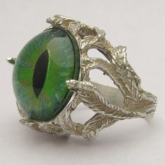 Handmade Sterling Silver Green Gothic Dragon Eye Claw by JandSGems,