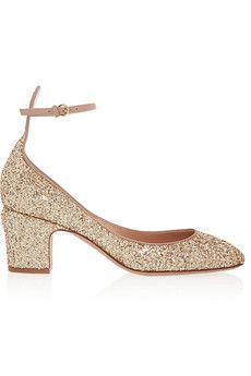 Valentino Tango glitter-finished leather pumps | NET-A-PORTER