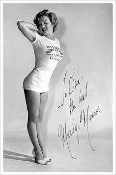"""In 1952 Marilyn Monroe was chosen as """"Miss torpedo"""" by The Torpedo Gang of the destroyer U.S.S. Destroyer. Photos by Earl Theisen."""