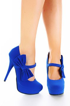 Royal Blue Smooth Velvet Mary Jane Bow Platform Heels Pump / Sexy Clubwear | Party Dresses | Sexy Shoes | Womens Shoes and Clothing | AMI CLubwear