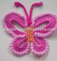 The first time I try to make butterfly crochet, takes time more than an hour. my first trial on a butterfly crochet, a little bit w. Crochet Diy, Crochet Amigurumi, Love Crochet, Learn To Crochet, Crochet Crafts, Crochet Projects, Crochet Tutorials, Crochet Geek, Diy Crafts