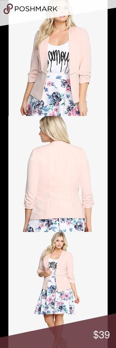 "🆕 torrid sz 2 knit ruched sleeve blazer blush It's time to ruch it up! An asymmetrical front design and ruched sleeves give this blush pink blazer a modern vibe. It's a versatile look that will take you from the office to after hours. Faux welt pockets finish off this trendy number.  Polyester/spandex with polyester lining. Machine wash cold, line dry. Underarm across 22"". Length 27"". Brand new with tag. torrid Jackets & Coats Blazers"