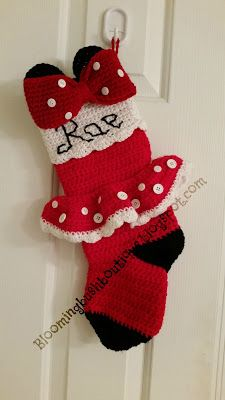 I am so excited about this post! I have a couple of kids who are huge Minnie Mouse fans and I created the additions to the pattern for the. Crochet Christmas Stocking Pattern, Crochet Stocking, Crochet Christmas Ornaments, Holiday Crochet, Christmas Knitting, Disney Christmas Stockings, Minnie Mouse Christmas, Knitted Christmas Stockings, Xmas Stockings