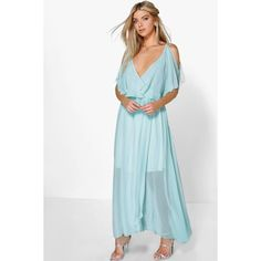 51ebfa65 Boohoo Night Claudia Chiffon Double Layer Wrap Maxi Dress ($44) ❤ liked on  Polyvore