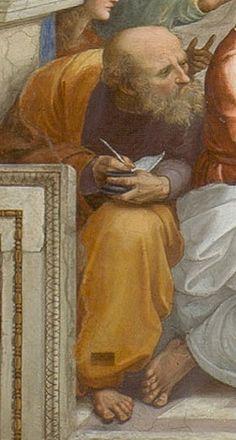 "Anaximander of Miletus ""The school of Athens"" by Raphael Sanzio, Fresco, School Of Athens, Greece Map, Renaissance Kunst, Western Philosophy, Visualisation, Western World, Le Web, Tempera"