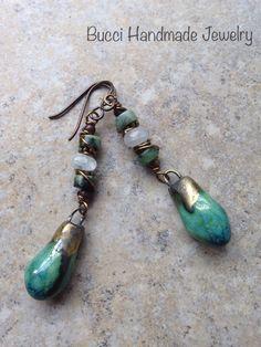 Turquoise Droplet Earrings porcelain by BucciHandmadeJewelry, $34.00