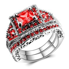 Big Bling Bling Red Diamond White Gold Princess Cut Engagement Rings for Women * Find out more details by clicking the image : Engagement Rings Jewelry