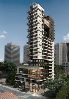 New skyscraper built in modern and trending architecture in so it looks amazing! Condominium Architecture, Futuristic Architecture, Facade Architecture, Residential Architecture, Amazing Architecture, High Building, Building Facade, Building Design, Facade Design
