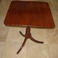 Georgian mahogany rectangular tilt top table with nicely turned central column