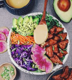 Vegan Almond Butter Tempeh Salad with Miso Ginger Dressing