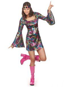 Disfraz disco mujer: Este disfraz disco para mujer incluye un vestido y una cinta para el pelo (zapatos y peluca no incluidos). El vestido es corto con mangas largas y acampanadas.El vestido es de color negro con motivos...