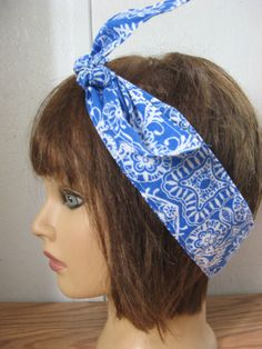 BLUE Hair Bandana, PinUp Hair, Women Hairband, BLUE Hair Wrap, Hair Band, Fabric Hair Band, Boho Bandana, RockaBilly HairBand #253 by StitchesByAlida on Etsy