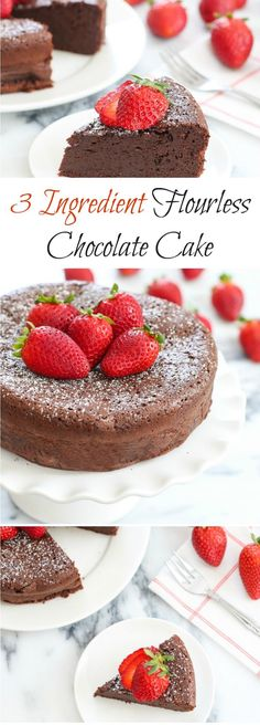 3 Ingredient Flourless Chocolate Cake. Perfect for Valentine's Day!