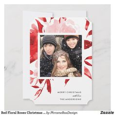 Shop Red Floral Roses Christmas Holiday Card created by PhrosneRasDesign. Christmas Graphics, Christmas Photo Cards, Christmas Photos, Holiday Cards, Christmas Rose, Christmas Holidays, Handmade Birthday Cards, Handmade Cards, Card Kit