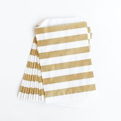 Gold Rugby Stripe Favor Bags - Set of 12 | The TomKat Studio Shop