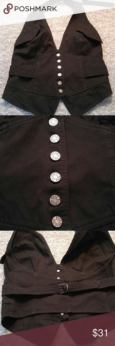 Black denim vest/halter. Stylish and versatile! 5 buttons in the front. Adjustable neck strap and back strap. Great condition. Worn once as a vest over a shirt. Euro size 44. Patrizia Pepe Tops