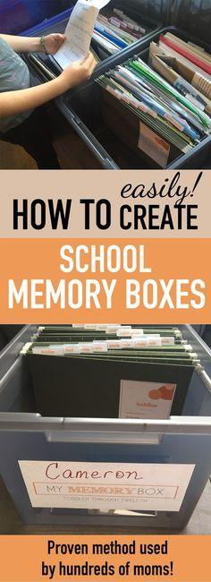 How to make kids school memory boxes--awesome way to save kids artwork and kids school papers without all those piles! Love this school paper organizing system! #organizeschoolpapers
