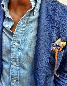 blue seersucker jacket, denim shirt and pochet. all in one