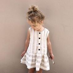 In love with this stripe toddler girl dress with wood buttons. Would love to se… In love with this stripe toddler girl dress with wood buttons. Would love to see my daughter in this. Kids Outfits Girls, Toddler Girl Dresses, Little Girl Dresses, Toddler Outfits, Dress Girl, Girl Toddler, Summer Dresses For Girls, Summer Clothes, Baby Dresses