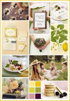 A blackberry and lemon palette inspired by that sweet combination of flavors from @Martha Stewart Weddings Magazine.