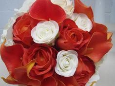 ivory rose, orange rose and calla lily bouquet