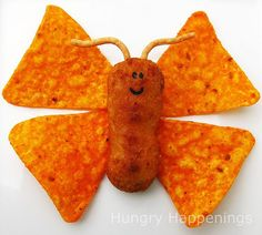 Party food -Dorito, cheese & sausage butterfly