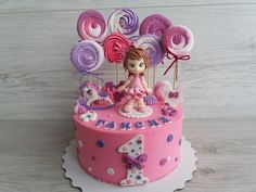 my cake for a girl with meringues and a figurine Girl Cakes, Baby Cakes, First Birthday Cakes, Meringue, First Birthdays, Cookies, Om, Desserts, Girls