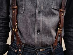 "Even when they come in leather and are worn with denim, they're still called ""braces,"" not ""suspenders."" That's why your haberdasher calls them ""braces buttons."""