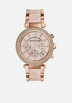 Stylish and versatile, the mixed materials trend is in full force this season. This Michael Kors Parker chronograph watch features a rose gold-tone stainless steel case with a glitz topring and…MaisMais  Michael Kors Relogios  Accéder au site pour information  http://storelatina.com/portugal/relogios  #fetaui #viaje #포르투갈 #Ushuaia