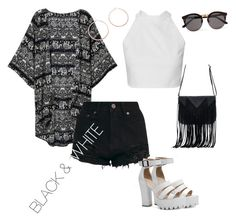 """""""black n white"""" by queenbee2301 ❤ liked on Polyvore featuring WithChic, Illesteva and Jennifer Zeuner"""