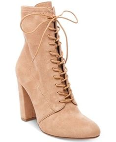 8f0f3850ace Steve Madden Women s Elley Lace-Up Block-Heel Booties Shoes - Boots - Macy s