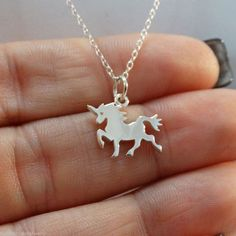 Tiny Unicorn Necklace - 925 Sterling Silver - Fantasy Fairytale Jewelry NEW Girl