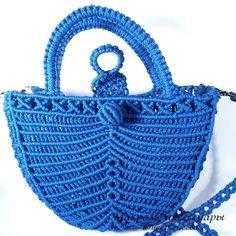 """Плетеная сумочка """"Васильковая долина"""" - синий,васильковый,голубой,сумочка"""