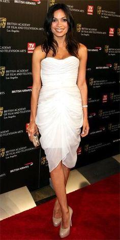 Rosario Dawson wearing Christian Siriano
