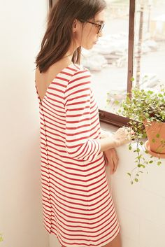 FREE SHIPPING - EASY RETURNS Breton striped dress with v-back. Texas-grown 100% organic cotton. Knitted in Los Angeles. Cut in Oakland. Sewn in San Francisco. Locally made. - 100% Texas-Grown Organic