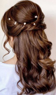 half up half down hairstyles partial updo hairstyle braid half up half down hairstyles bridal hair boho hairstyle braid half up hairstyle - - Going Out Hairstyles, Wedding Hairstyles For Long Hair, Elegant Hairstyles, Wedding Hair And Makeup, Bride Hairstyles, Down Hairstyles, Bridal Hair, Wedding Hair Half, Bridal Half Up Half Down