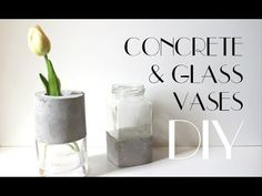 DIY - Concrete and Glass Vases. Concrete is becoming a design trend and you can use it to make a simple, inexpensive and beautiful project that add an industrial feel to your homedecor. Recycle glass jars or old glasses and turn them into timeless and Diy Concrete Planters, Glass Planter, Concrete Crafts, Concrete Projects, Concrete Design, Diy Planters, Concrete Lamp, Cement Art, Beton Diy